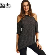SheIn Summer Woman Fashion Tops Ladies Tee Shirts Casual Half Sleeve Cold Shoulder Black Crew Neck Asymmetric Hem T-shirt(China (Mainland))