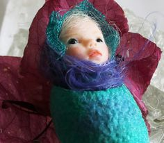 Miniature Cocoon Blue Tuquoise Fairy Baby by FairiesMiniatures, $39.00