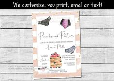 Printable pancakes and panties invitation lingerie party | Etsy Hens Party Invitations, Bridal Shower Invitations, Bachelorette Party Games, Lingerie Party, Bridal Shower Games, Recipe Cards, Party Printables, Shower Ideas, Pancakes