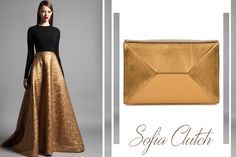 The metallic bronze Sofia clutch is an exquisite and delicate leather accessory that can easily match your elegant attire @wi