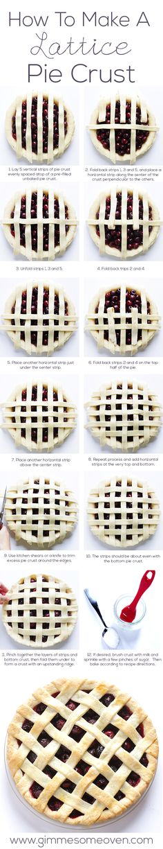 How To Make A Lattice Pie Crust -- it's much easier you think! | gimmesomeoven.com #dessert #howto #tutorial