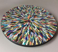 """Zwarts Veronique on Instagram: """"Needed to do something with a lot of Colors, so here is my « Melting-pot » diamètre 25cm #zwarts mosaique #mosaic #emaux de briare #pate de…"""""""