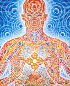 "Nature of Mind - Alex Grey panel 6 ""Diamond scepter Vajra, Pure of stain or ill, Now has found its heart home As the engine of creative will. Empowered to penetrate others, With primordial waves of bliss, Shimmering resonant love webs Spread out to boundlessness."""