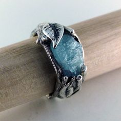 Men's Raw Uncut Rough Blue Aquamarine Ring, Sterling Silver Leaf and Twig Ring, Raw Uncut Twig Aquamarine Ring, One of a Kind Ring by DawnVertreesJewelry on Etsy
