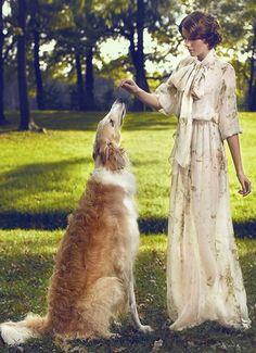 A lady with borzoi. #borzoi #dogs #Russian