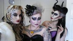 Cruela, Ursula, & Maleficent with a Rockabilly flair. Great face paint/makeup
