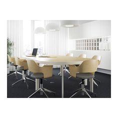 BEKANT Conference table - birch veneer/white - IKEA