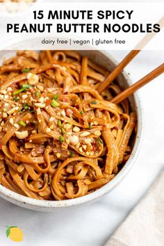 These spicy peanut butter noodles are an easy, healthy, gluten free dinner recipe that's also vegan! These spicy peanut butter noodles are an easy, healthy, gluten free dinner recipe that's also vegan! Gluten Free Recipes For Dinner, Healthy Dinner Recipes, Vegetarian Recipes, Cooking Recipes, Spicy Food Recipes, Easy Vegan Dinner, Healthy Lunches, Keto Dinner, Diabetic Recipes