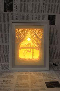 Sagoma cervo foresta carta tagliata scatola luminosa di trysogodar