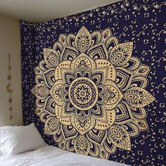 """Golden Ombre Tapestry by Labhanhi"""" Ombre Bedding , Mandala Tapestry, Queen, White Color Indian Mandala Wall Art Hippie Wall Hanging Bohemian Bedspread Hippie Bedding, Bohemian Bedspread, Bohemian Tapestry, Mandala Tapestry, Colorful Tapestry, Hippie Bohemian, Mandala Print, Hippie Style, Boho Style"""