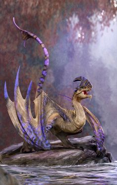 Dragons are Kaiju (just smaller ones) Dragon ~~ ravine- river wyvern by *nebezial on deviantART Fantasy Dragon, Fantasy Art, Dragon Medieval, Dragon's Lair, Dragon Artwork, Dragon Pictures, Fantasy Monster, Mythological Creatures, Creature Concept