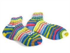 These Knitted Fun Stripe Ankle Socks are hand knitted using Patons Kroy Socks Stripes yarn.  The socks are not exactly a match, which makes them fun socks.  These ankle socks are Women's Medium Size 8-9.    The Patons Kroy Socks Stripes yarn is 75% Washable Wool and 25% Nylon.  The color is Sailor Stripes.  The stripes in the knitted fun ankle socks make them unique and the different colors makes coordinating with your wardrobe easier.  By CraftingMemories