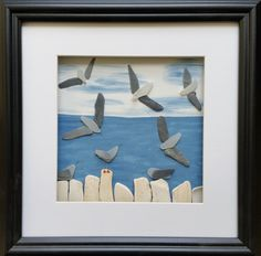 Seaglass seagulls Pebble Art Pictures by CornishPebbleArt on Etsy