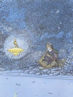 The Art of Moebius - Animation  Man in long lether boots summens the golden nisse riding on a golden top, with his golden floot.