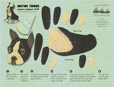 DIY Cute Boston Terrier Paper Doll For Party For Children For Paper Crafts