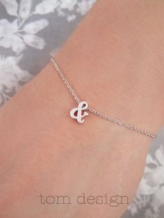 Tiny Silver Ampersand Bracelet  Custom Personalized by TomDesign, $15.00