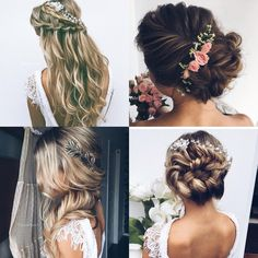 Wedding hair bridal hair vine flowers boho bohemian whimsical wedding style inspiration art