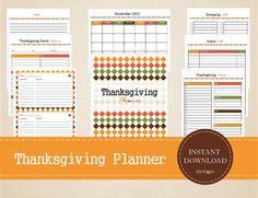 Thanksgiving Planner  Thanksgiving Calendar  by MBucherConsulting