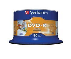 Verbatim DVD-R 16x Speed 4,7GB Printable 50er Spindel DVD-Rohlinge   Verbatim DVD-R x 50  4.7 GB  Speichermedium  Verbatim  50 x DVD-R  4.7 GB 16x  breite bedruckbare Fläche für Fotos  Spindel  Speichermedium  Beeindruckenden...
