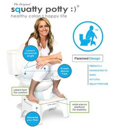 squatting on the squatty potty - weird. Does not solve the problem of toilet splash back.