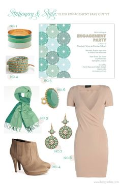 Stationery & Style: Sleek Engagement Party Outfit featuring our 'Punched Metal' invitation (click for sources)