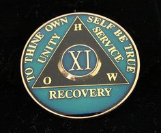 11 Year Alcoholics Anonymous Anniversary Blue Tri Plate Medallion Coin Chip
