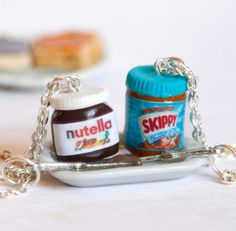 BFF nutella and peanut butter inspired two necklaces miniature food jewelry