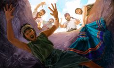 Joseph's brothers throw him into a pit and take his robe