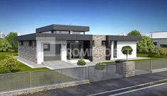 Projekt bungalovu s terasou a galériou Linear vizuál, zrkadlový Promiprojekt Simple Bungalow House Designs, Modern Bungalow House, Small Modern House Plans, Modern Small House Design, House Plans Mansion, Dream House Plans, Model House Plan, Architectural House Plans, Dream House Exterior