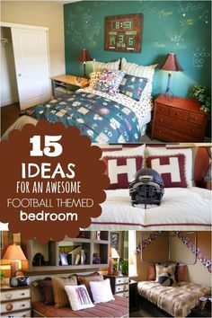 15 Ideas for an Awesome Football Themed Boys Bedroom Football Theme Bedroom, Football Rooms, Bedroom Themes, Kids Bedroom, Bedroom Decor, Boy Bedrooms, Kids Rooms, Bedroom Ideas, Restaurant