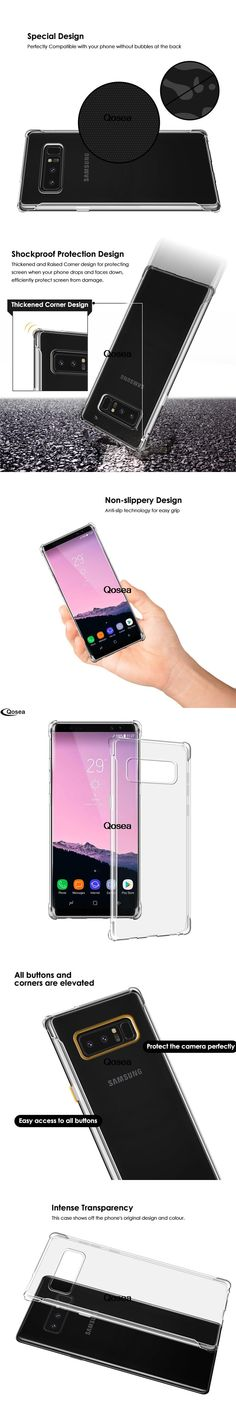 Qosea For Samsung Galaxy Note 8 Case Transparent Slim Soft Silicone TPU Skin For Galaxy Note 8 Airbag Phone Protective Cover