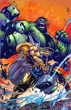 #Hulk #Fan #Art. (Hulk hits Scandinavian gods. Color) By: IvannaMatilla. (THE * 3 * STÅR * ÅWARD OF: AW YEAH, IT'S MAJOR ÅWESOMENESS!!!™)[THANK Ü 4 PINNING!!!<·><]<©>ÅÅÅ+(OB4E)
