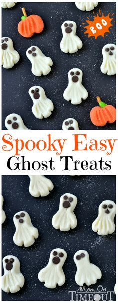 "Could use this ""mixture"" to make different things for different occasions. These Spooky Easy Ghost Treats can be whipped up in a jiffy and are the perfect candy to share this Halloween! Halloween Goodies, Halloween Food For Party, Halloween Desserts, Halloween Trick Or Treat, Spooky Halloween, Holidays Halloween, Halloween Treats, Halloween Recipe, Oreo Dessert"
