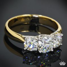 """3 Stone """"Trellis"""" Engagement Ring featuring Round Center Stone - March 24 2019 at Engagement Ring Buying Guide, Platinum Engagement Rings, Three Stone Engagement Rings, Oval Engagement, Gold Diamond Wedding Band, Diamond Rings, Wedding Bands, Gold Bands, Solitaire Diamond"""