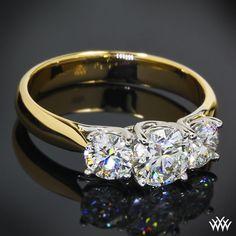 "3 Stone ""Trellis"" Engagement Ring featuring .731ct Round Center Stone"