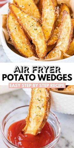 Air Fryer Potato Wedges are so crispy and perfectly seasoned! Tossed with Parmesan these easy homemade Air Fried Wedges make a tasty appetizer or side dish. Potato Wedges made in the Air Fryer are cri Air Fryer Oven Recipes, Air Frier Recipes, Air Fryer Dinner Recipes, Air Fryer Recipes Potatoes, Air Fry Potatoes, Air Fryer Baked Potato, Air Fryer Rotisserie Recipes, Air Fryer Potato Chips, Air Fryer Recipes Appetizers