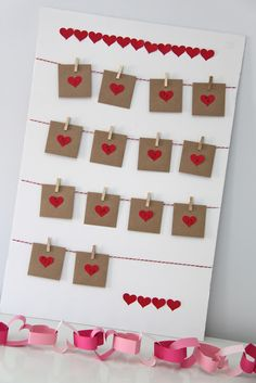 TUTORIAL: Valentine's Count Down Calendar, each day has a heart inside the envelope with various things to do: example: bake cupcakes