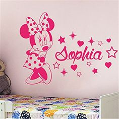 Creative Minnie personnalisé enfants nom bébé stickers muraux pour enfants chambres décoration stickers muraux # T157