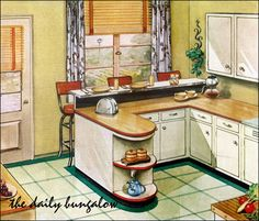 1950s Kitchen, Kitchen Art, Kitchen Interior, Vintage Kitchen, Kitchen Ideas, Kitchen Cabinets, Vintage Room, Vintage Decor, 1940s Home