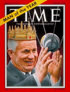TIME Magazine Cover: Nikita Khrushchev, Man  the Year -- Jan. 6, 1958-January 31, 1955-speech-The Soviet leadership discusses the state of Soviet foreign affairs. Khrushchev reviews Soviet policy after Stalin's death, blaming Molotov and Malenkov for mistakes in Soviet policy towards Germany. The role of executed Soviet leader Lavrentii Beria was also discussed.