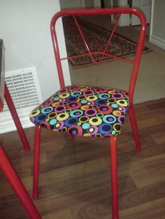 Red and dot Kids table and chairs refinished