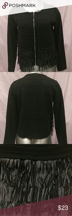 Grace Elements Textured Fringe Trim Zip Front Price is negotiable...make an offer💵💵... New with tags: Textures fringe trim with silver front zipper. The front bottom has fringe and the back bottom is regular, long sleeve. Body 78% rayon and 22% nylon and fringe is 100% polyurethane. Grace Elements Sweaters