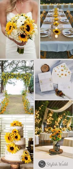 Sunflowers and weddings seem to go hand-in-hand. They are both rich in history and meaning, symbols of a brighter present, and future yet to come. If you are going to have a sunflower theme wedding, this invite is just for you! Sunflower Wedding Centerpieces, Wedding Bouquets, Wedding Flowers, Diy Flowers, Wedding Cakes With Sunflowers, Western Wedding Centerpieces, Sunflower Decorations, Wedding Centerpieces Mason Jars, Wedding Colors