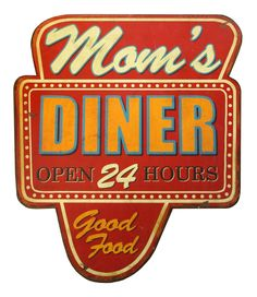 Wooden Sign Mom's Diner Wall Décor