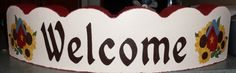 """""""Welcome"""" - painted scalloped paver stone. Painted Bricks Crafts, Brick Crafts, Brick Projects, Stone Crafts, Painting Concrete, Concrete Art, Painting Edges, Stone Painting, Cement Pavers"""
