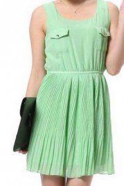 Green Sleeveless Pockets Embellished Pleated Dress