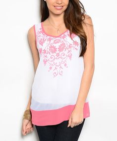 Look what I found on #zulily! White & Coral Embroidered Silk-Blend Top #zulilyfinds