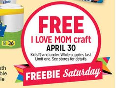 FREE I Love Mom Craft for Kids at Kmart Today on http://www.icravefreebies.com/