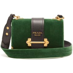 Prada Cahier velvet cross-body bag (€2.020) ❤ liked on Polyvore featuring bags, handbags, shoulder bags, prada handbags, green handbags, velvet shoulder bag, green crossbody purse and reversible purse