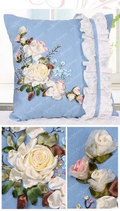 Ooh, really like this - pretty ruffles and ribbonwork flowers on cushion cover!